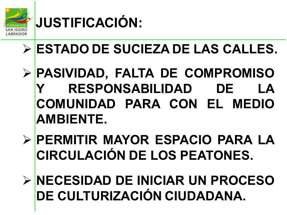 JUSTIFICACIÓN: ESTADO DE SUCIEZA DE LAS CALLES. NECESIDAD DE INICIAR UN PROCESO DE CULTURIZACIÓN CIUDADANA. PASIVIDAD, FALTA DE COMPROMISO Y RESPONSAB