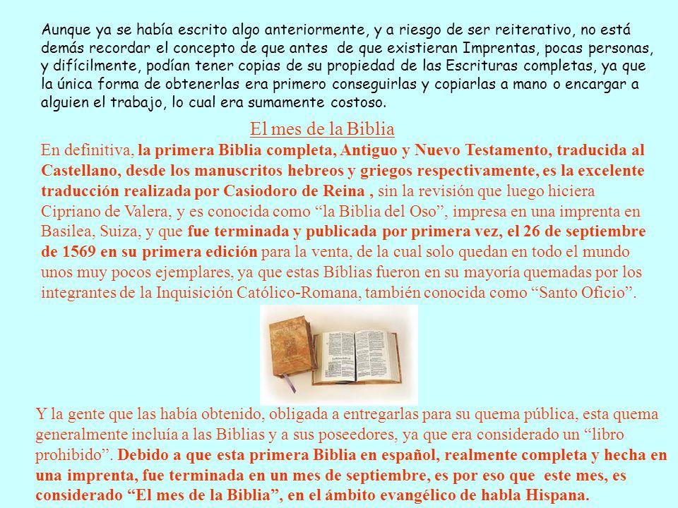 Actualmente en la Argentina también se conmemora el Día Nacional de la Biblia.