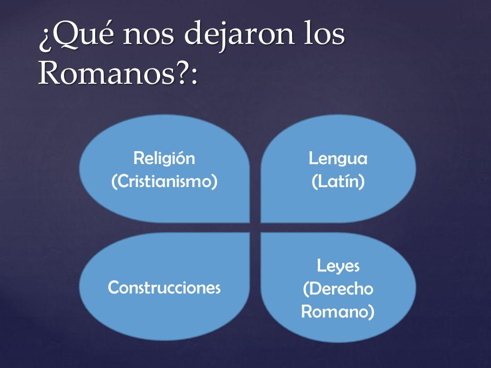¿Qué nos dejaron los Romanos?: Construcciones Lengua (Latín) Leyes (Derecho Romano) Religión (Cristianismo)