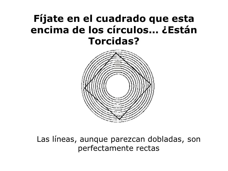 Fíjate en el cuadrado que esta encima de los círculos... ¿Están Torcidas? Las líneas, aunque parezcan dobladas, son perfectamente rectas