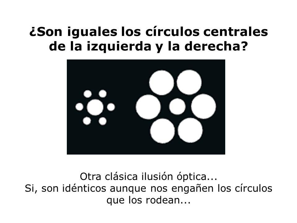 ¿Son iguales los círculos centrales de la izquierda y la derecha? Otra clásica ilusión óptica... Si, son idénticos aunque nos engañen los círculos que