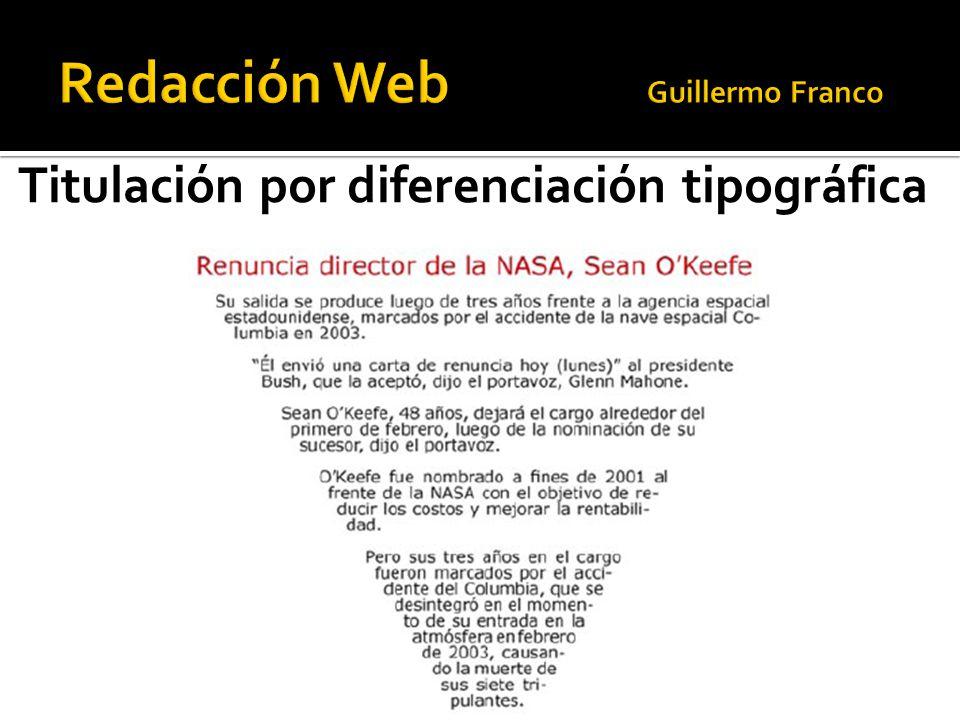 Titulación por diferenciación tipográfica