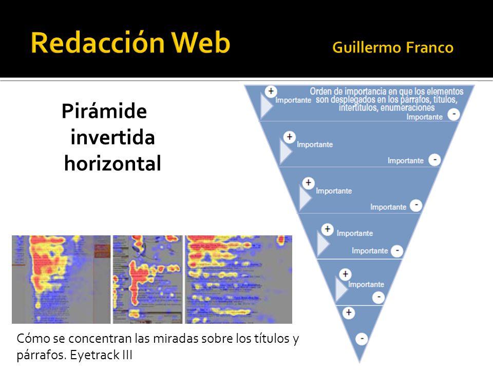 Pirámide invertida horizontal Cómo se concentran las miradas sobre los títulos y párrafos. Eyetrack III