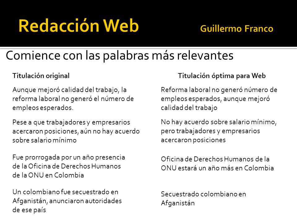 Comience con las palabras más relevantes Titulación original Titulación óptima para Web Aunque mejoró calidad del trabajo, la reforma laboral no gener