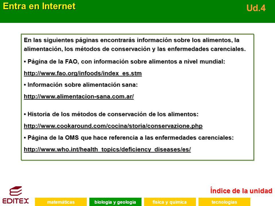 Índice de la unidad Índice de la unidad Entra en Internet Ud.4 En las siguientes páginas encontrarás información sobre los alimentos, la alimentación,