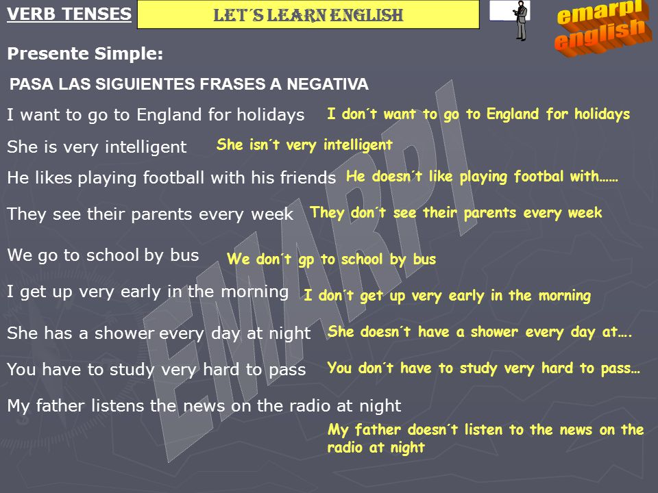 Let´s learn english VERB TENSES Presente Simple: PASA LAS SIGUIENTES FRASES A NEGATIVA I want to go to England for holidays She is very intelligent He