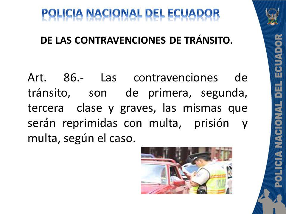 DE LAS CONTRAVENCIONES DE TRÁNSITO. Art. 86.- Las contravenciones de tránsito, son de primera, segunda, tercera clase y graves, las mismas que serán r