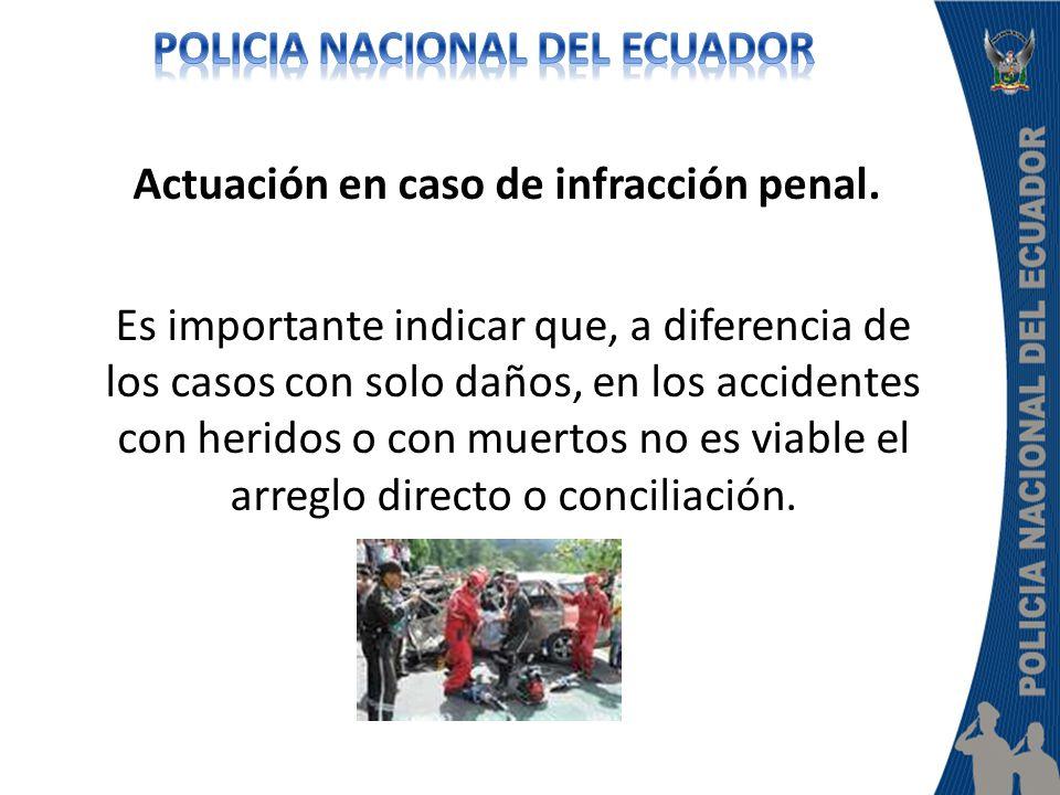 Actuación en caso de infracción penal. Es importante indicar que, a diferencia de los casos con solo daños, en los accidentes con heridos o con muerto