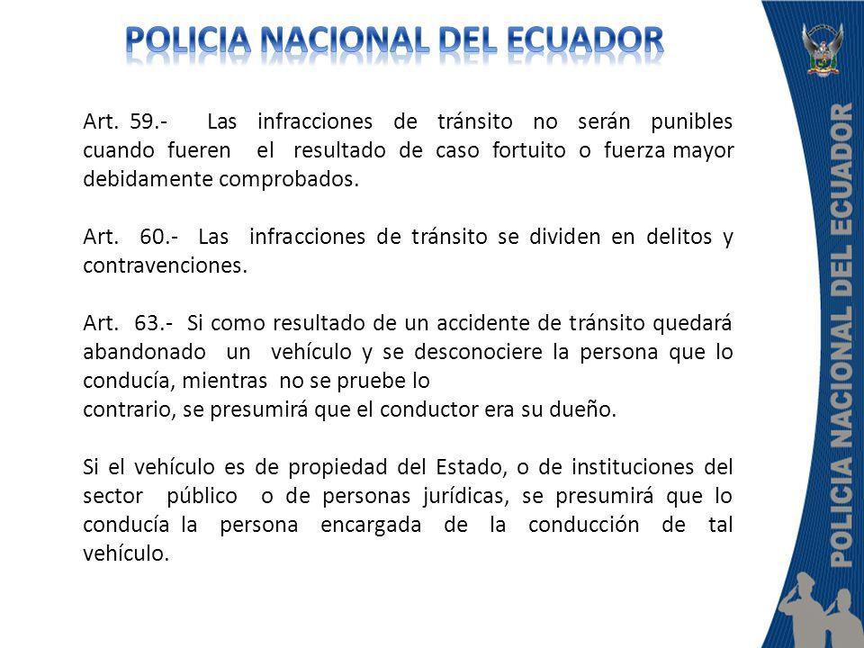 Art. 59.- Las infracciones de tránsito no serán punibles cuando fueren el resultado de caso fortuito o fuerza mayor debidamente comprobados. Art. 60.-