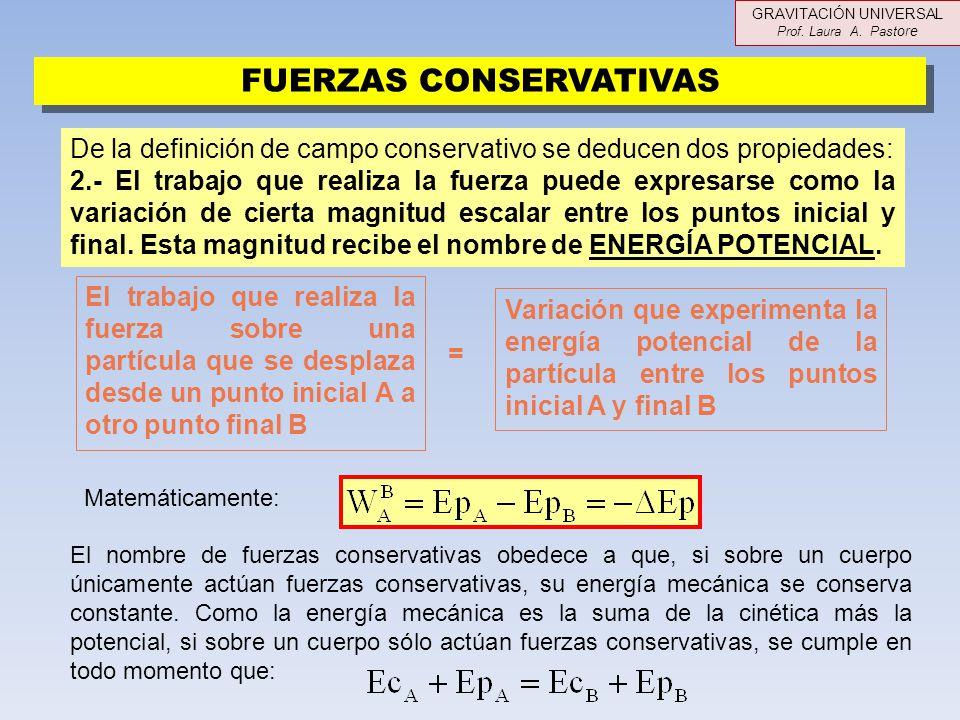FUERZAS CONSERVATIVAS De la definición de campo conservativo se deducen dos propiedades: 2.- El trabajo que realiza la fuerza puede expresarse como la