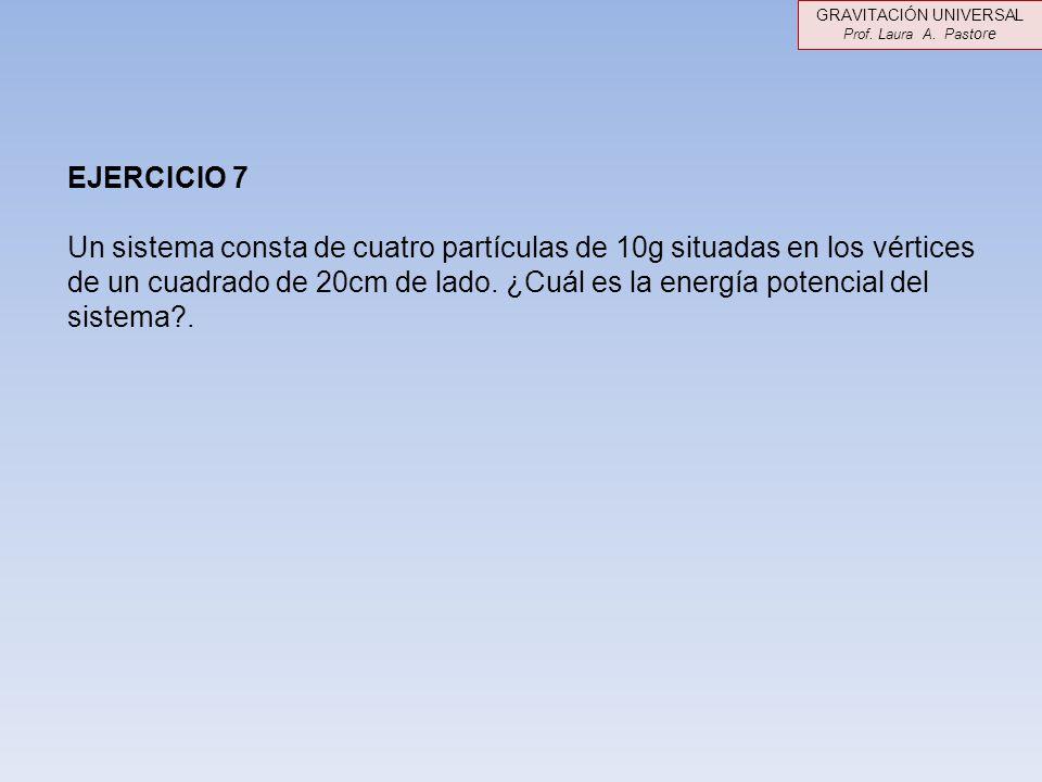 EJERCICIO 7 Un sistema consta de cuatro partículas de 10g situadas en los vértices de un cuadrado de 20cm de lado. ¿Cuál es la energía potencial del s