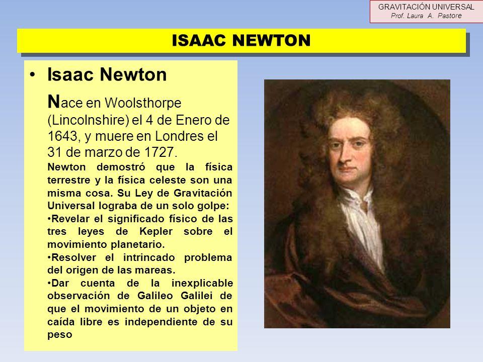 Isaac Newton N ace en Woolsthorpe (Lincolnshire) el 4 de Enero de 1643, y muere en Londres el 31 de marzo de 1727. Newton demostró que la física terre