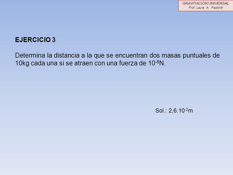 EJERCICIO 3 Determina la distancia a la que se encuentran dos masas puntuales de 10kg cada una si se atraen con una fuerza de 10 -5 N. Sol.: 2,6.10 -2