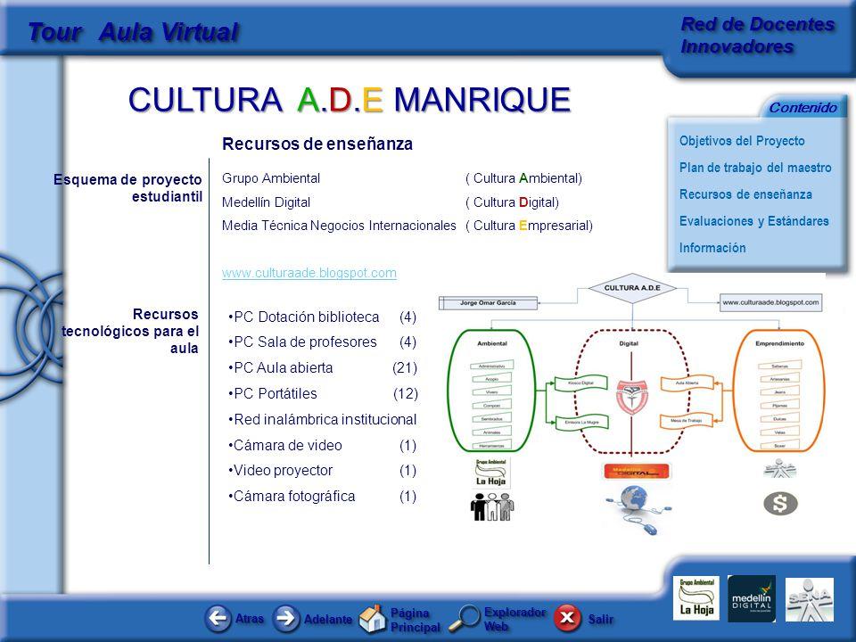 CULTURA A.D.E MANRIQUE AtrasAtras AdelanteAdelante Página Principal SalirSalir Objetivos del Proyecto Red de Docentes Innovadores Plan de trabajo del maestro Evaluaciones y Estándares Recursos de enseñanza Información Contenido Tour Aula Virtual Explorador Web Recursos de enseñanza Grupo Ambiental ( Cultura Ambiental) Medellín Digital ( Cultura Digital) Media Técnica Negocios Internacionales ( Cultura Empresarial) www.culturaade.blogspot.com Esquema de proyecto estudiantil Recursos tecnológicos para el aula PC Dotación biblioteca (4) PC Sala de profesores (4) PC Aula abierta (21) PC Portátiles (12) Red inalámbrica institucional Cámara de video(1) Video proyector(1) Cámara fotográfica(1)