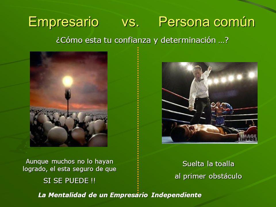 Empresario vs. Persona común Empresario vs. Persona común Aunque muchos no lo hayan logrado, el esta seguro de que SI SE PUEDE !! Suelta la toalla al
