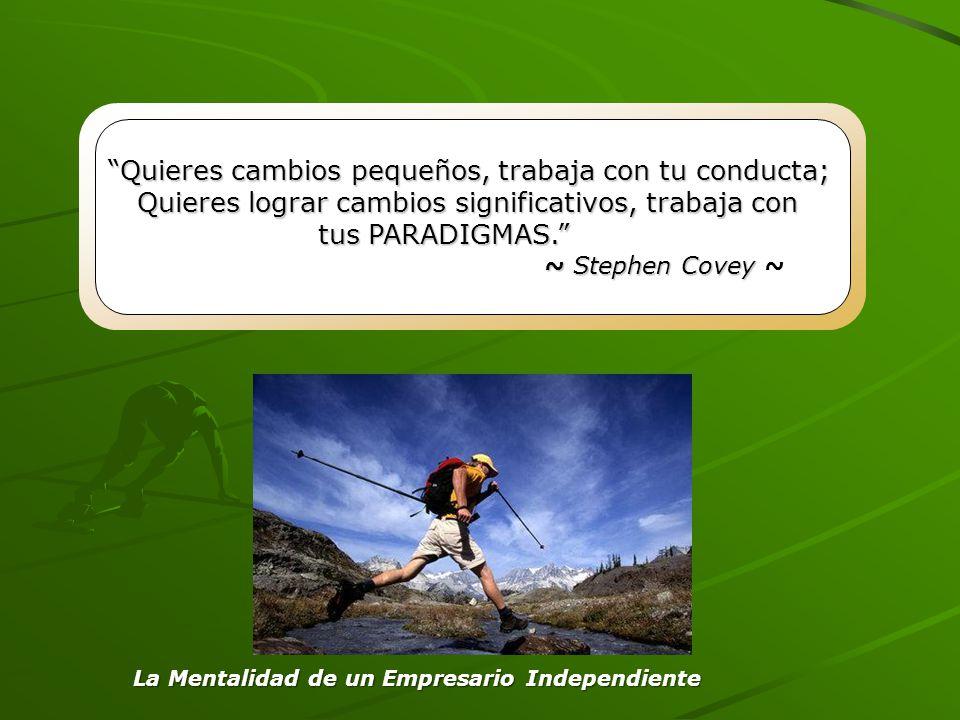Quieres cambios pequeños, trabaja con tu conducta; Quieres lograr cambios significativos, trabaja con tus PARADIGMAS. ~ Stephen Covey ~ Stephen Covey