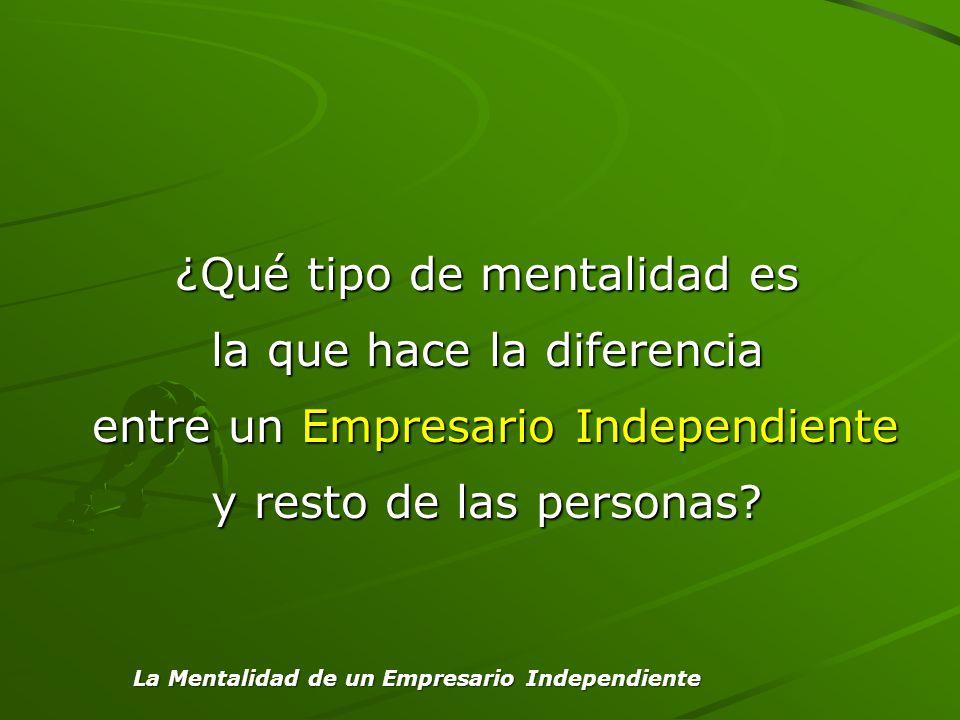 ¿Qué tipo de mentalidad es la que hace la diferencia entre un Empresario Independiente y resto de las personas? La Mentalidad de un Empresario Indepen