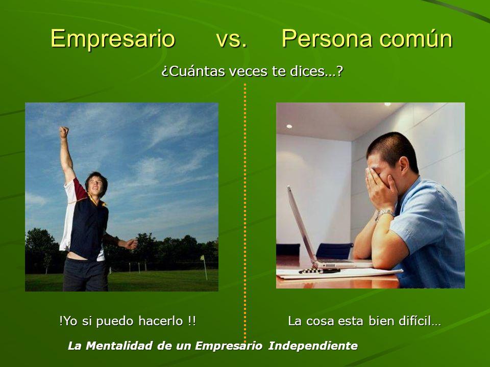 Empresario vs. Persona común Empresario vs. Persona común !Yo si puedo hacerlo !! La cosa esta bien difícil… ¿Cuántas veces te dices…? La Mentalidad d