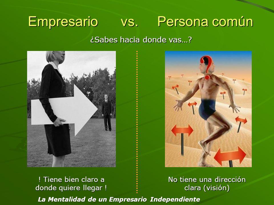 Empresario vs. Persona común Empresario vs. Persona común ! Tiene bien claro a donde quiere llegar ! No tiene una dirección clara (visión) Confusión y