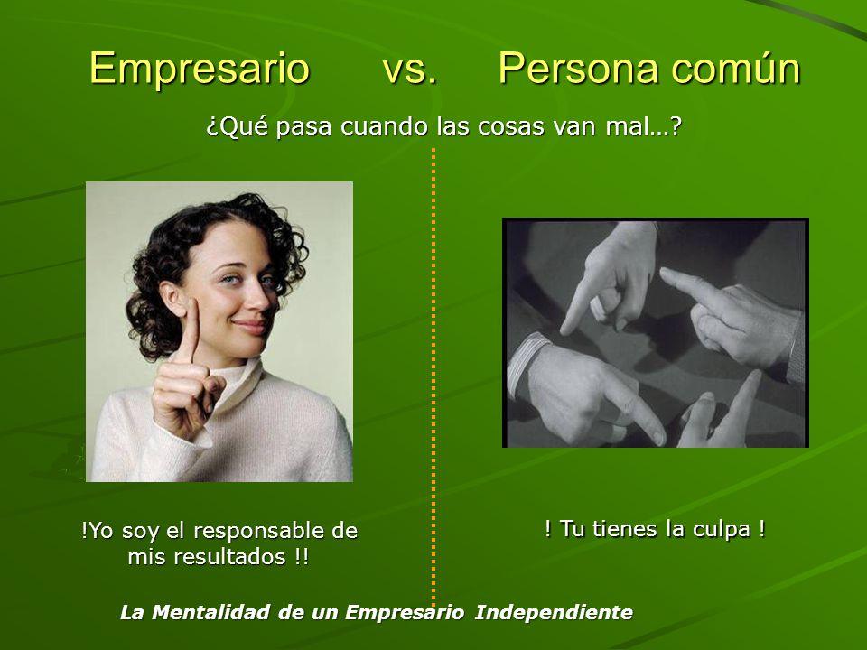 Empresario vs. Persona común Empresario vs. Persona común !Yo soy el responsable de mis resultados !! ! Tu tienes la culpa ! ¿Qué pasa cuando las cosa