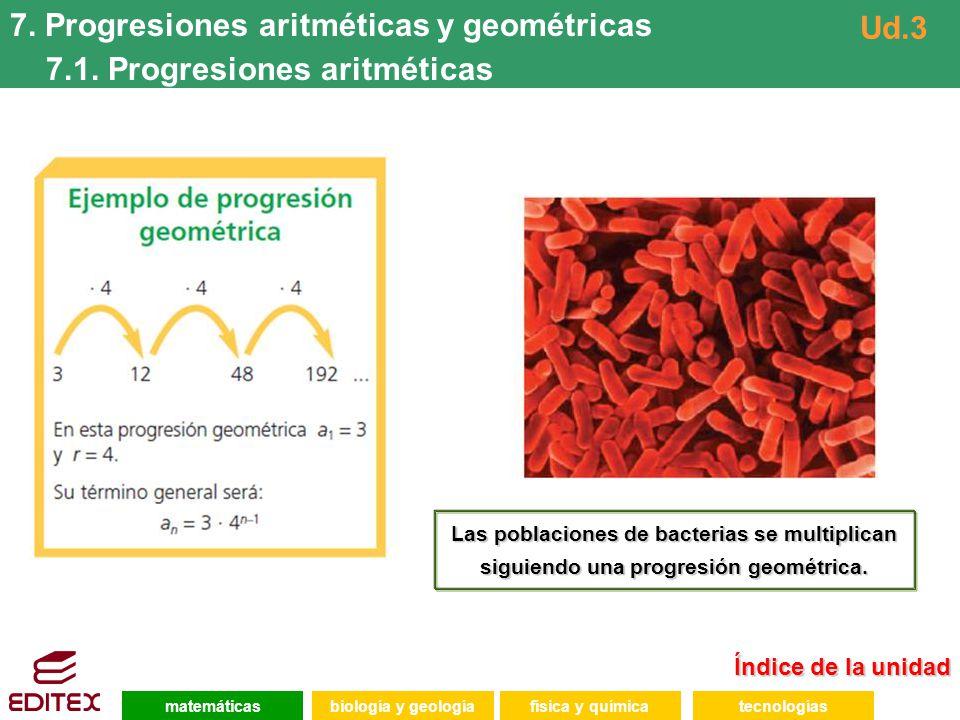 matemáticasfísica y químicatecnologíasbiología y geología 7. Progresiones aritméticas y geométricas 7.1. Progresiones aritméticas Ud.3 Las poblaciones