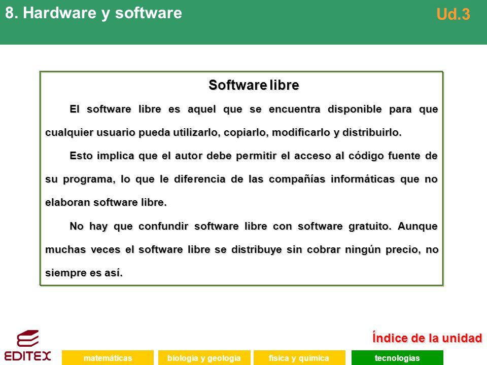 matemáticasfísica y químicatecnologíasbiología y geología 8. Hardware y software Ud.3 Software libre El software libre es aquel que se encuentra dispo