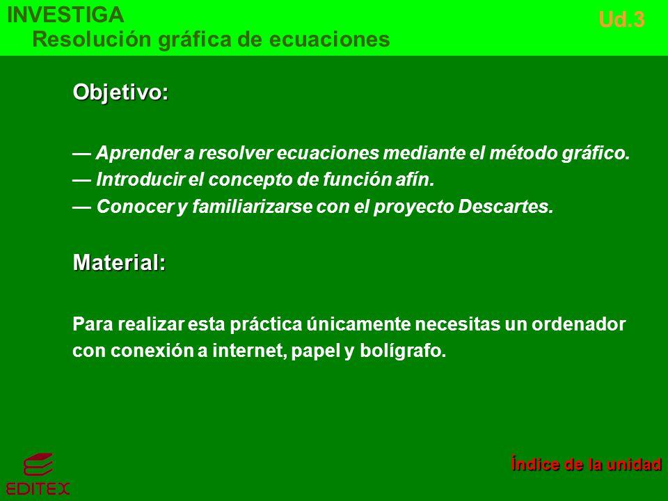 Objetivo: Aprender a resolver ecuaciones mediante el método gráfico. Introducir el concepto de función afín. Conocer y familiarizarse con el proyecto