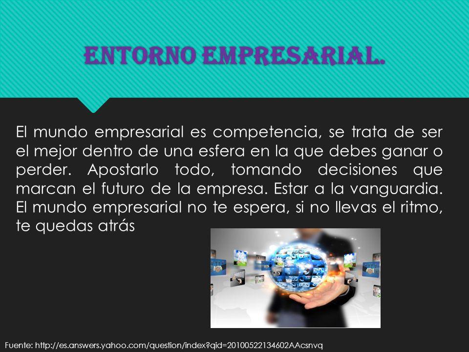 Entorno Empresarial. El mundo empresarial es competencia, se trata de ser el mejor dentro de una esfera en la que debes ganar o perder. Apostarlo todo