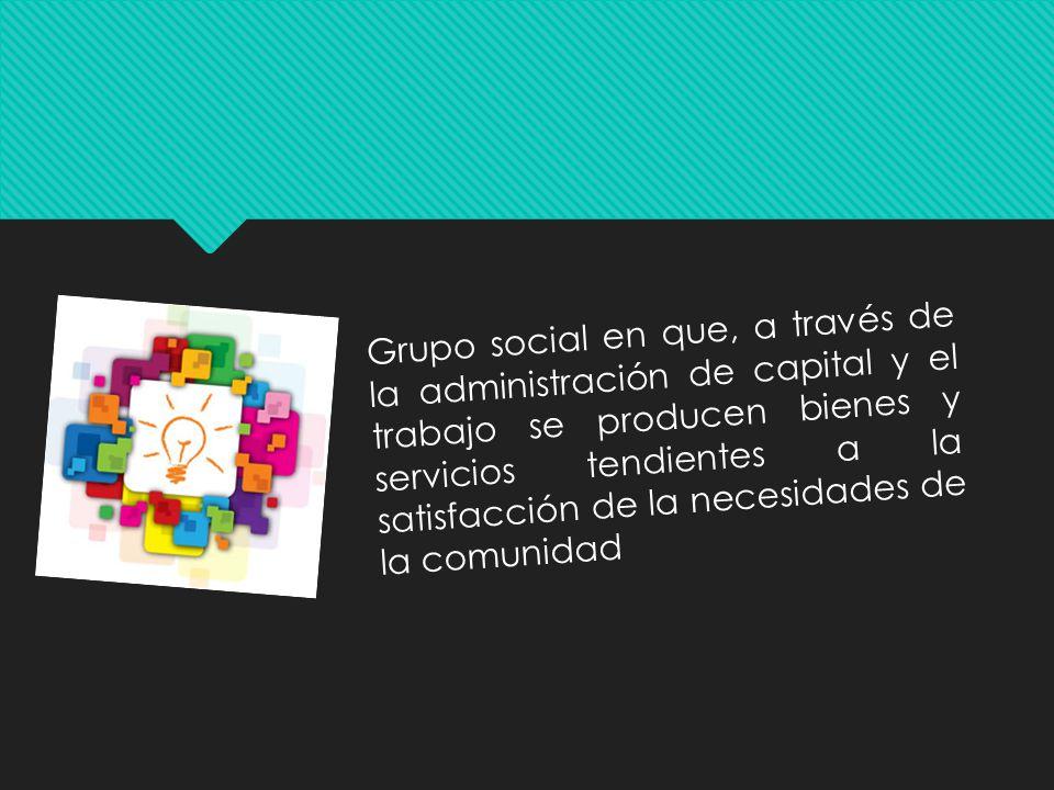 Grupo social en que, a través de la administración de capital y el trabajo se producen bienes y servicios tendientes a la satisfacción de la necesidad