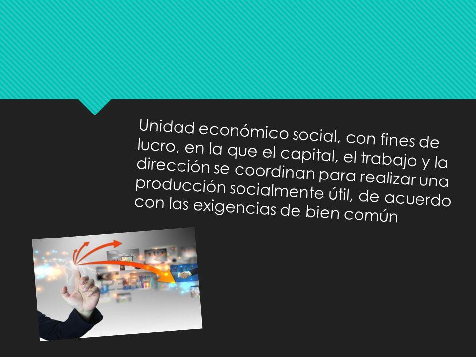 Unidad económico social, con fines de lucro, en la que el capital, el trabajo y la dirección se coordinan para realizar una producción socialmente úti