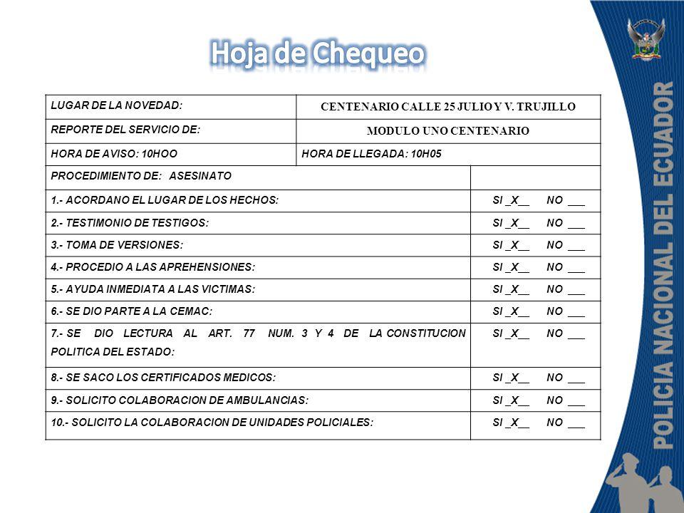 LUGAR DE LA NOVEDAD: CENTENARIO CALLE 25 JULIO Y V.