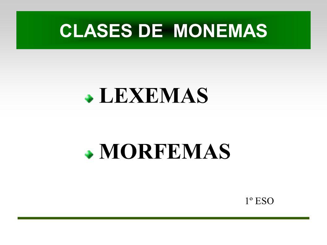 1º ESO LEXEMAS MORFEMAS CLASES DE MONEMAS