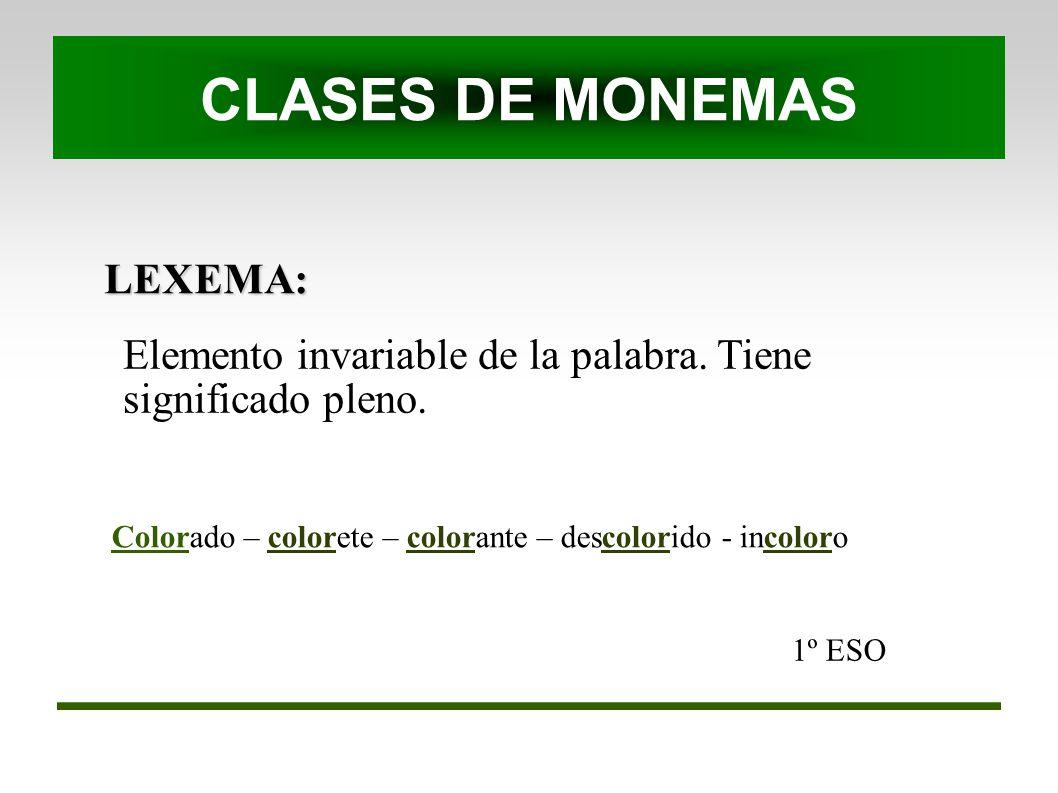 LEXEMA: 1º ESO Elemento invariable de la palabra. Tiene significado pleno. CLASES DE MONEMAS Colorado – colorete – colorante – descolorido - incoloro