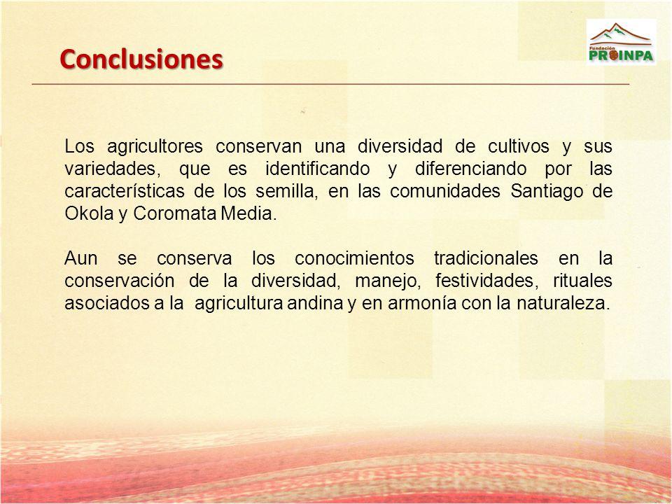 Conclusiones Los agricultores conservan una diversidad de cultivos y sus variedades, que es identificando y diferenciando por las características de l