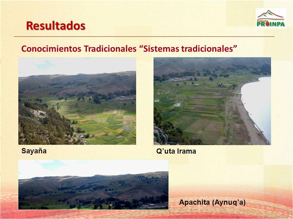 Resultados Conocimientos Tradicionales Sistemas tradicionales Sayaña Quta Irama Apachita (Aynuqa)