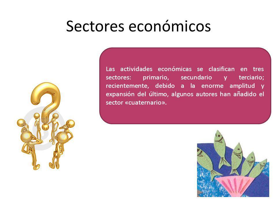 Sectores económicos Las actividades económicas se clasifican en tres sectores: primario, secundario y terciario; recientemente, debido a la enorme amplitud y expansión del último, algunos autores han añadido el sector «cuaternario».