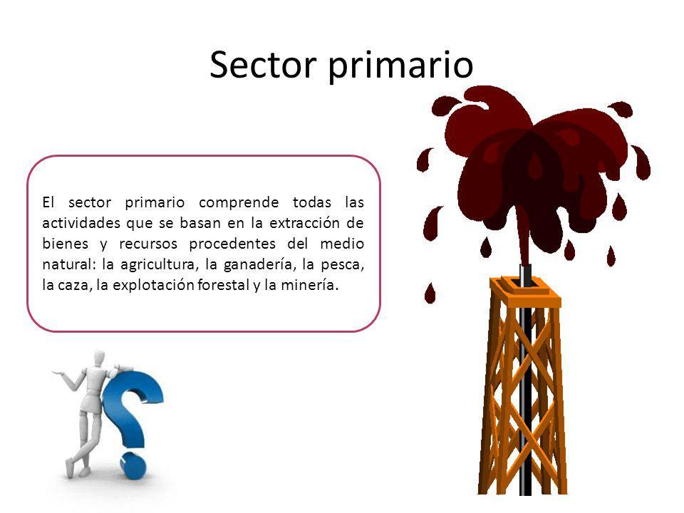Sector primario Muchos de los productos que se obtienen de estas actividades no necesitan ninguna transformación o muy poca antes de su consumo, como las naranjas, los boquerones o la carne de vaca.