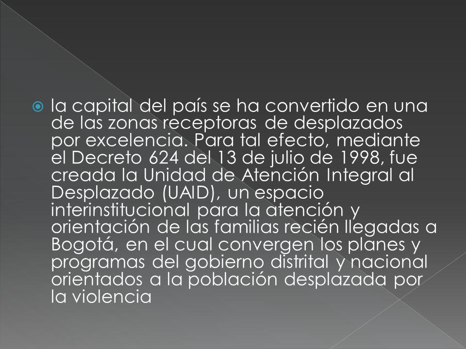 la capital del país se ha convertido en una de las zonas receptoras de desplazados por excelencia.