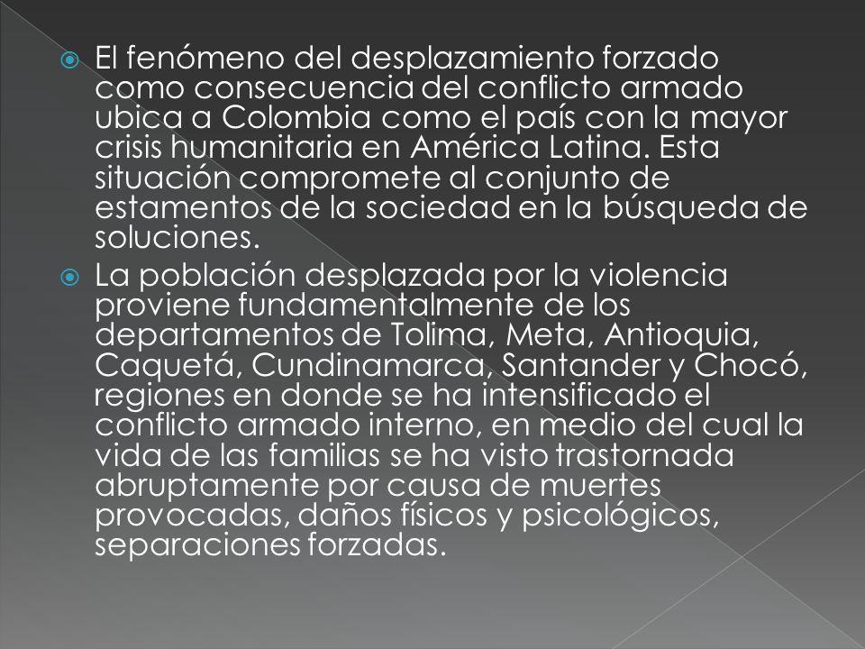 El fenómeno del desplazamiento forzado como consecuencia del conflicto armado ubica a Colombia como el país con la mayor crisis humanitaria en América Latina.