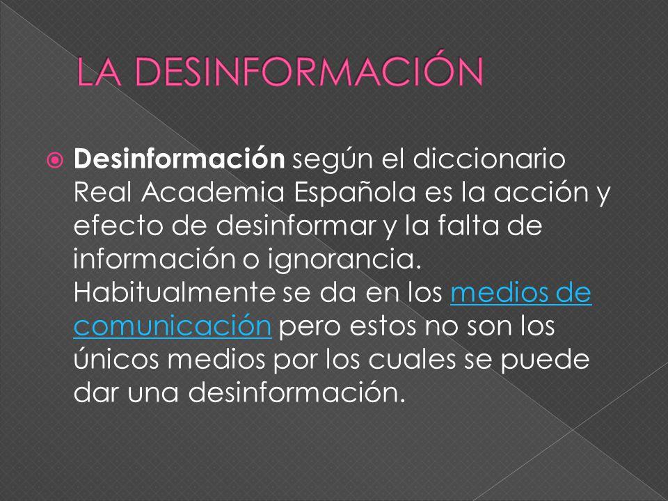 1. DESINFORMACION 2. PROCEDIMIENTOS 3. MITICISMO 4. RETORICA DE LA DESINFORMACION 5. FIN DE LA PRESENTACION