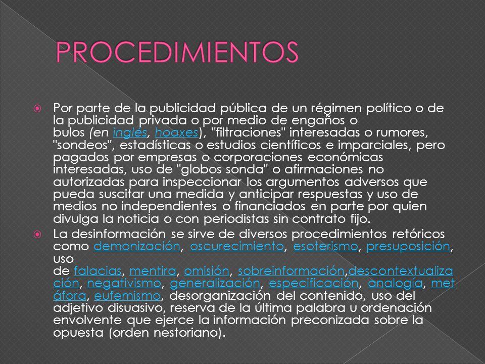 Desinformación según el diccionario Real Academia Española es la acción y efecto de desinformar y la falta de información o ignorancia. Habitualmente