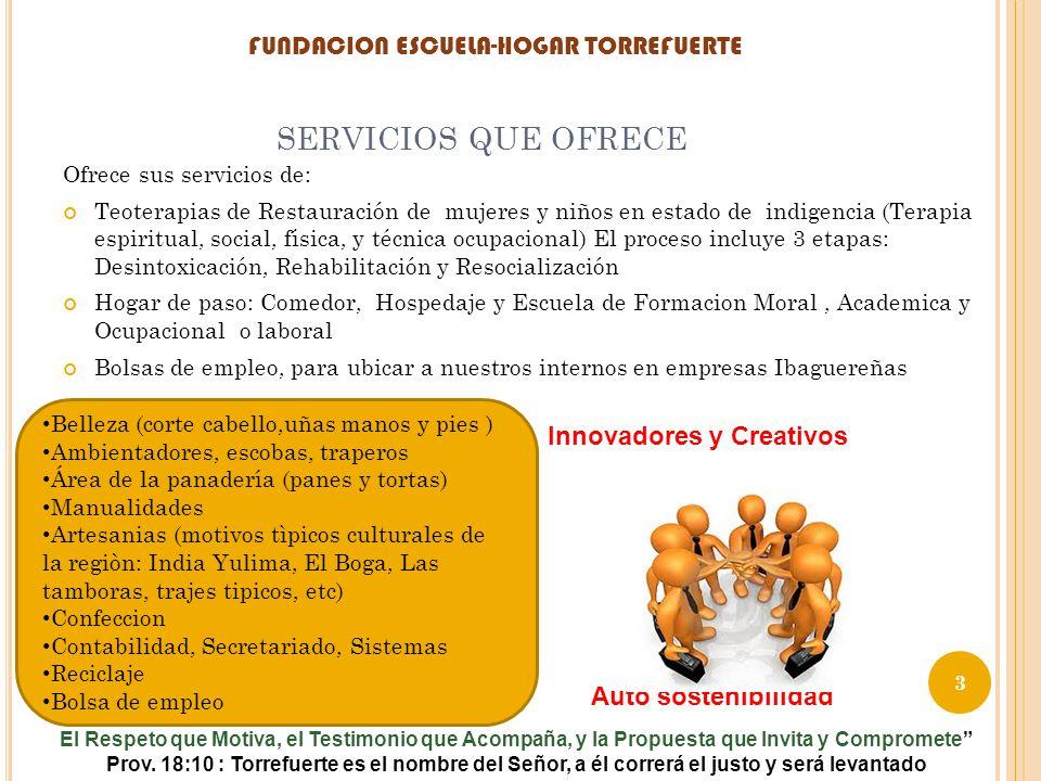 SERVICIOS QUE OFRECE Ofrece sus servicios de: Teoterapias de Restauración de mujeres y niños en estado de indigencia (Terapia espiritual, social, físi