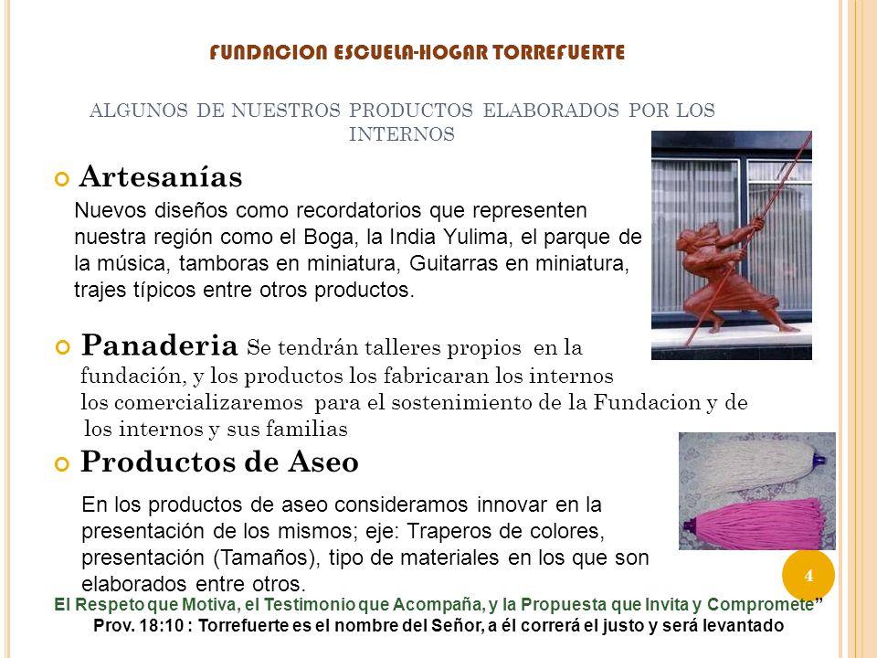 ALGUNOS DE NUESTROS PRODUCTOS ELABORADOS POR LOS INTERNOS Artesanías Nuevos diseños como recordatorios que representen nuestra región como el Boga, la