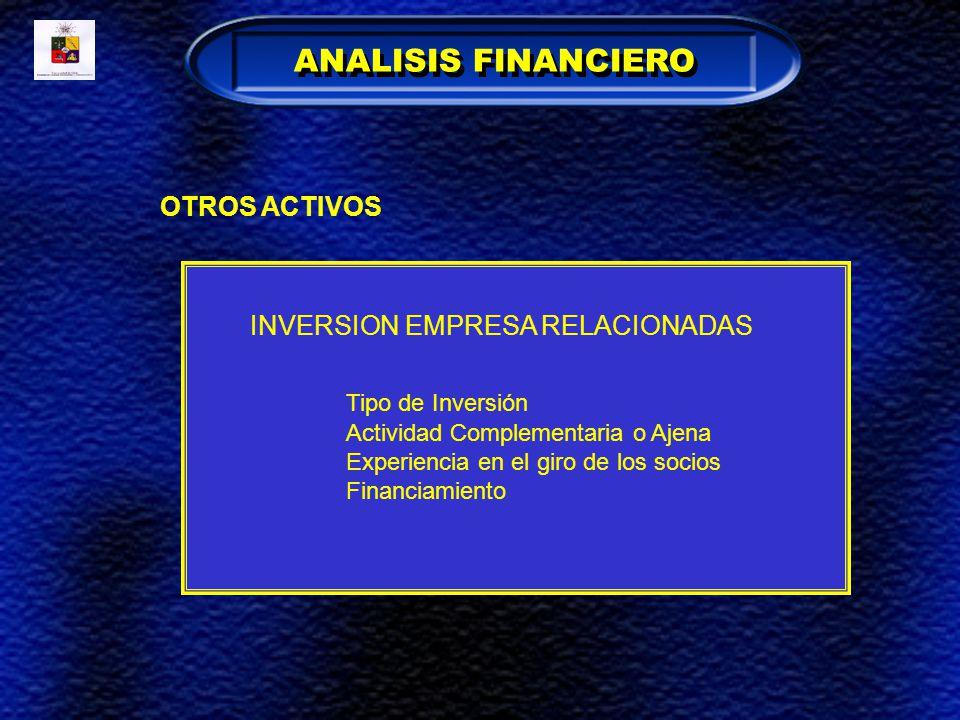 OTROS ACTIVOS INVERSION EMPRESA RELACIONADAS Tipo de Inversión Actividad Complementaria o Ajena Experiencia en el giro de los socios Financiamiento AN