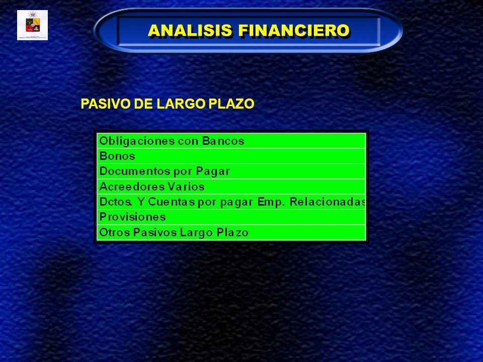 PASIVO DE LARGO PLAZO ANALISIS FINANCIERO