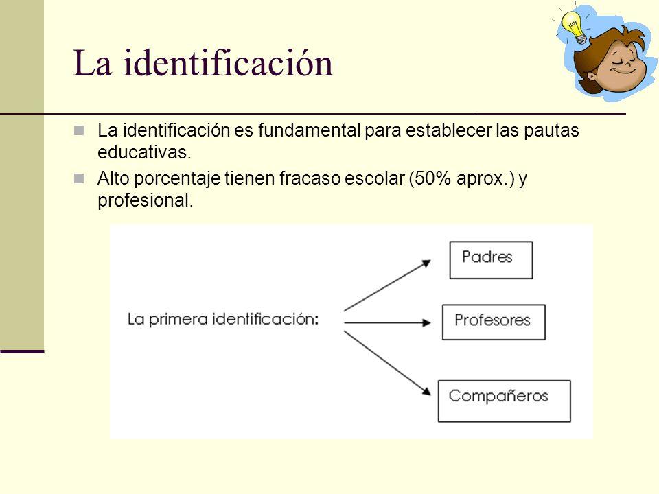 La identificación La identificación es fundamental para establecer las pautas educativas. Alto porcentaje tienen fracaso escolar (50% aprox.) y profes