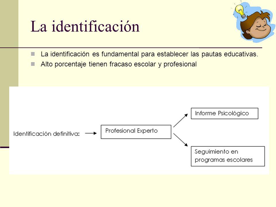 La identificación La identificación es fundamental para establecer las pautas educativas. Alto porcentaje tienen fracaso escolar y profesional