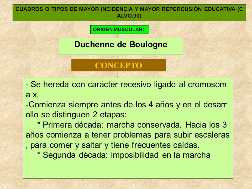 CUADROS O TIPOS DE MAYOR INCIDENCIA Y MAYOR REPERCUSIÓN EDUCATIVA (C ALVO,90) ORIGEN MUSCULAR: Duchenne de Boulogne - Se hereda con carácter recesivo ligado al cromosom a x.