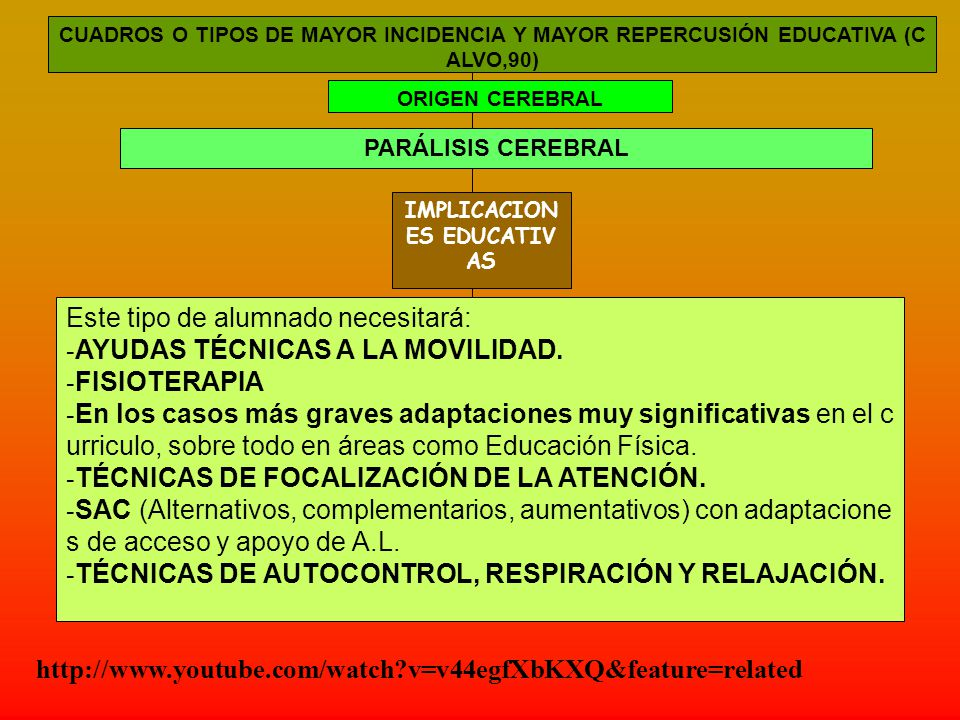 CUADROS O TIPOS DE MAYOR INCIDENCIA Y MAYOR REPERCUSIÓN EDUCATIVA (C ALVO,90) ORIGEN CEREBRAL PARÁLISIS CEREBRAL IMPLICACION ES EDUCATIV AS Este tipo