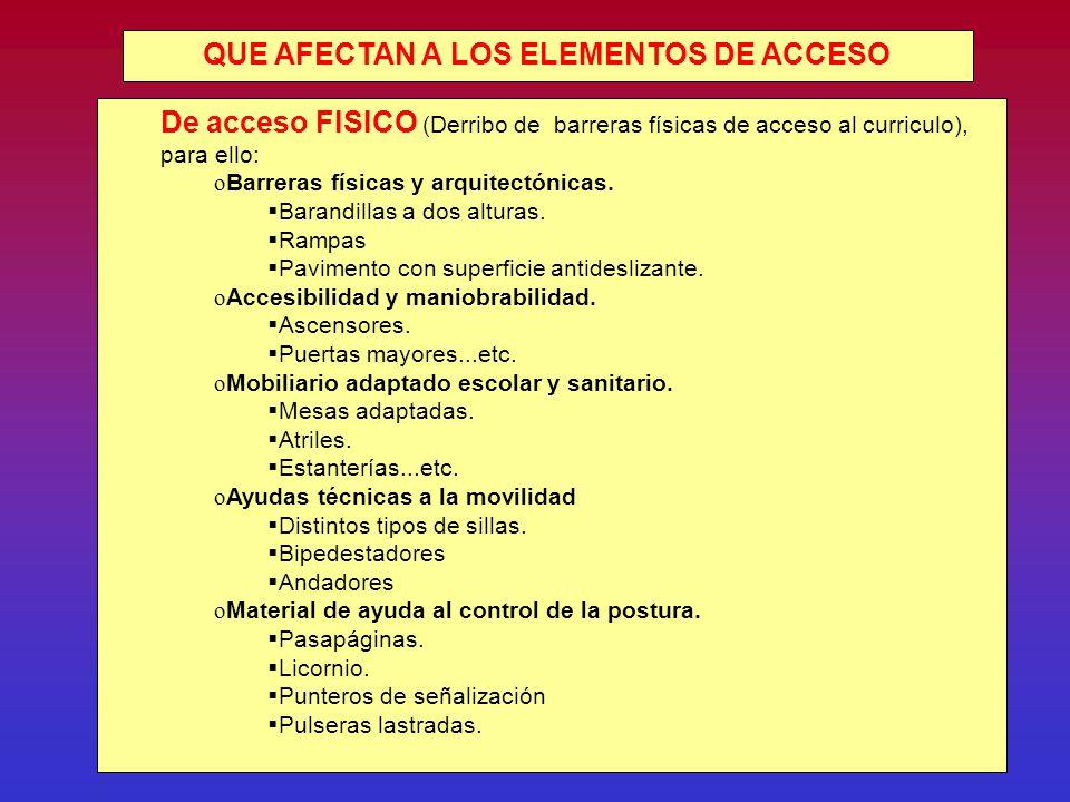 QUE AFECTAN A LOS ELEMENTOS DE ACCESO De acceso FISICO (Derribo de barreras físicas de acceso al curriculo), para ello: o Barreras físicas y arquitectónicas.
